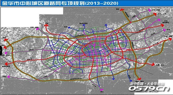 上海、杭州等大城市穿梭于林立高楼间的高架路,是城市快速路的一部分。高架路作为交通密集和城市繁华的象征,未来将出现在金华。 目前正在市规划局网站上公示的《金华市中心城区道路网专项规划(2014~2020年)》,首次提出要在金华中心城区约280平方公里范围内,构建两环六射快速路系统。作为城市长远治堵的重要一环,构建一个畅通高效的道路交通体系,已提上议事日程。 在构建城市快速路的同时,这份规划还对金华框架性主干道路网进行了梳理。比如,在传统三横三纵的基础上,增加规划4条向外辐射的主干路网,形成三横三