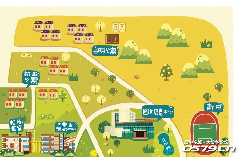 唯美手绘浙师大校园地图